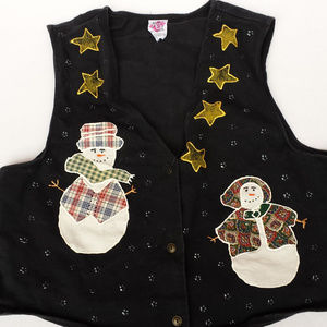 Vintage Christmas vest with snowmen
